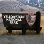 Yellowstone National Park sign at the North Entrance;Jim Peaco;October 1992